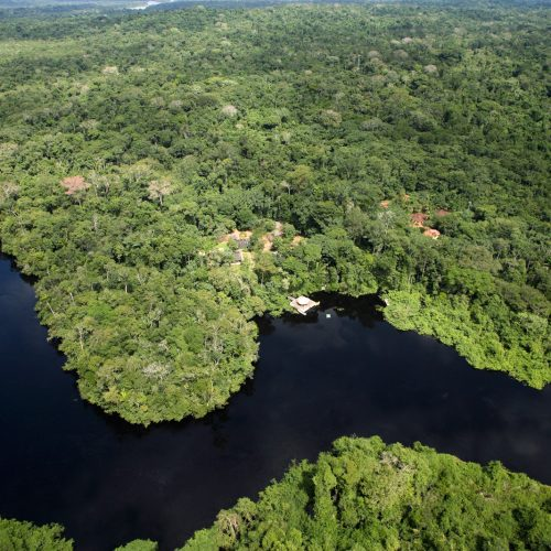 Aerial view Cristalino Lodge Amazon Brazil