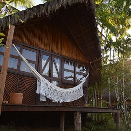 Sleeping in the trees tucked into the Atlantic Rainforest in Itacare Bahia Brazil