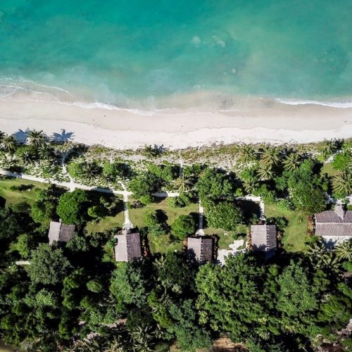 Drone View of Kandui Resort in the Mentawais Islands.