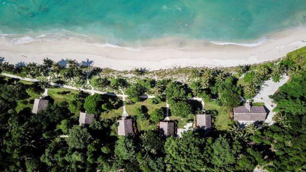 Drone View of Kandui Resort in the Mentawais Islands.